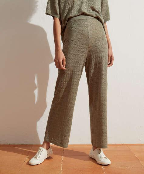 Pantalons fins al turmell de punt pointelle
