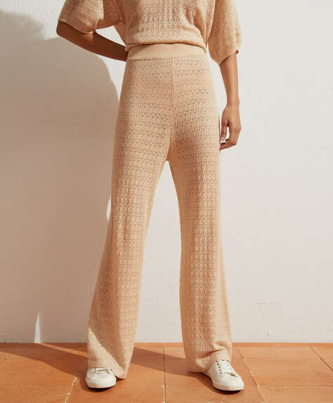 Pointelle knit wide-leg trousers