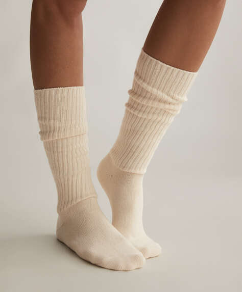 Long ribbed organic cotton socks