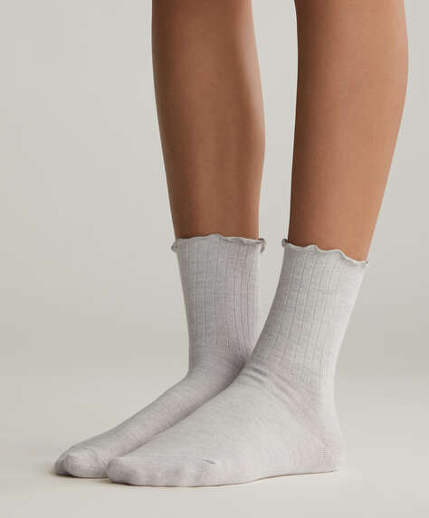 5 ribbed cotton socks with wave top
