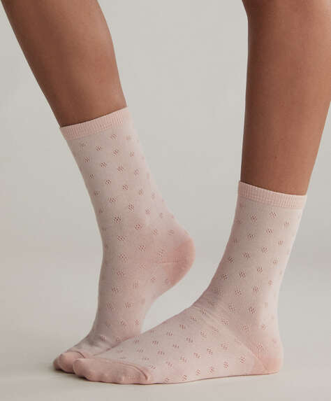 5 pairs of dotted cotton crew socks