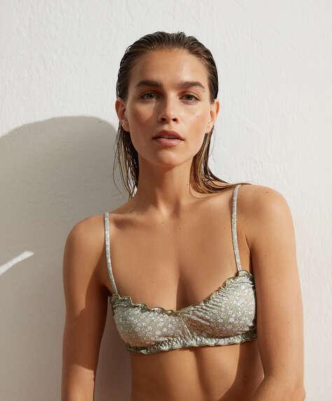 Ditsy floral triangle bikini top