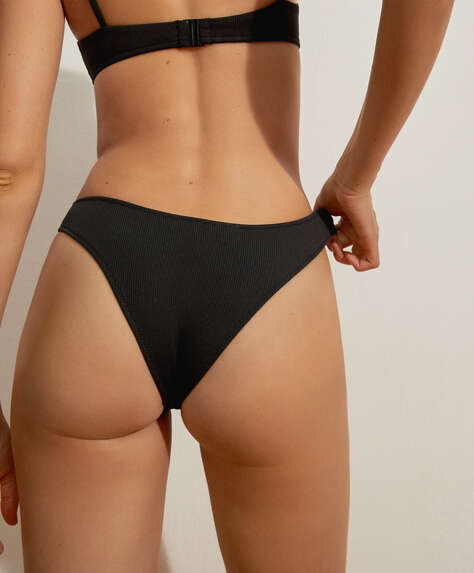 Slim rib Brazilian bikini briefs