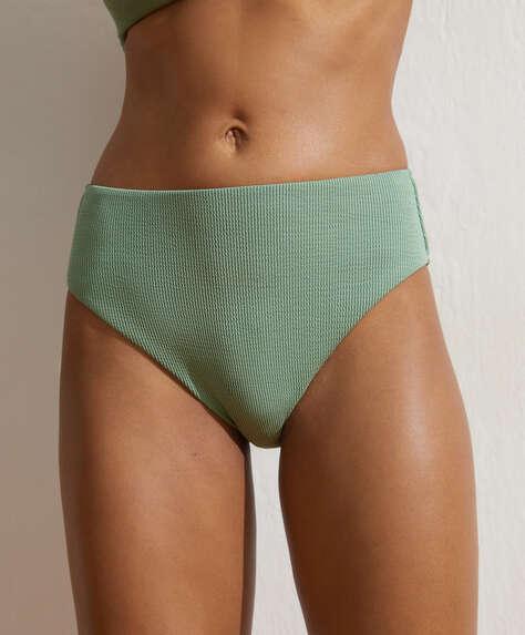 High-waisted rib Brazilian bikini briefs