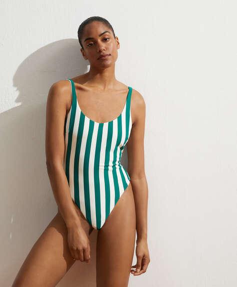 Vertical stripe swimsuit