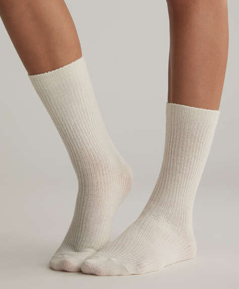 2 pairs of ribbed structured socks