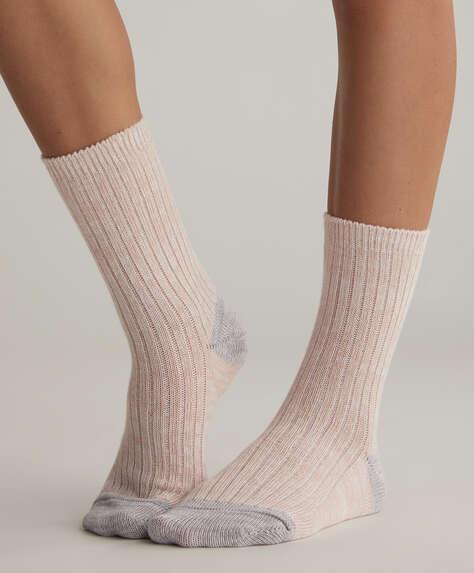 2 çift kontrast renkli dokulu çorap