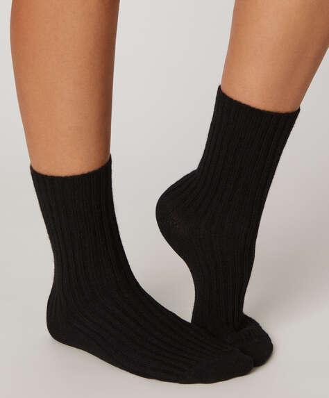 Chunky rib knit socks