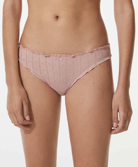 3 open-knit cotton Brazilian briefs