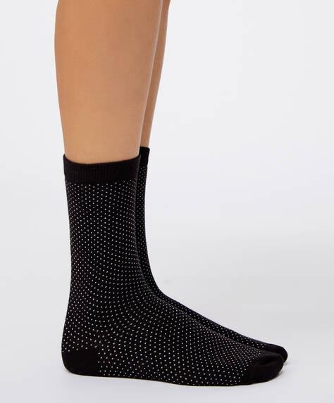 5 çift pamuklu puantiye desenli çorap