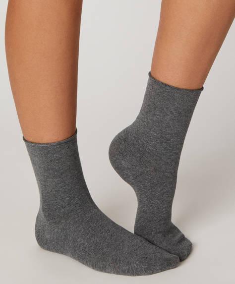Chaussettes en coton unies