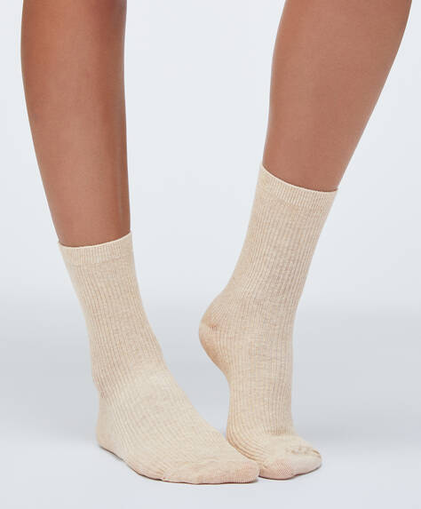 Ribbed cotton socks