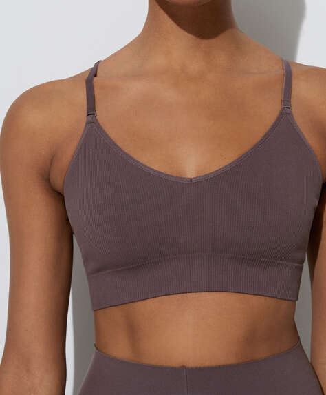 Seamless sports bra with strappy back