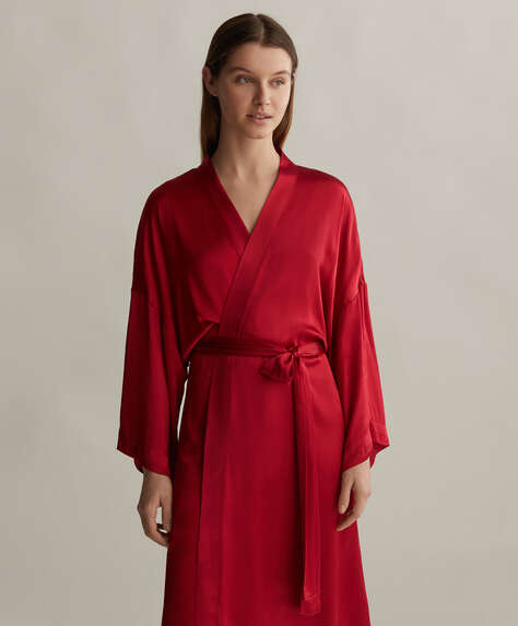 Red satin dressing gown
