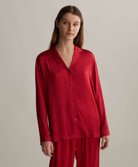 Red satin shirt
