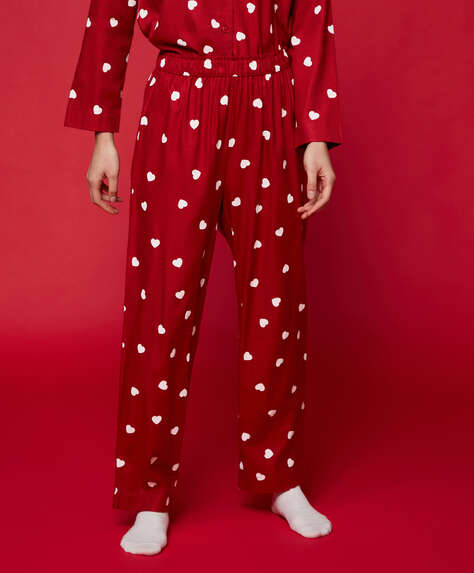Red cotton trousers with hearts