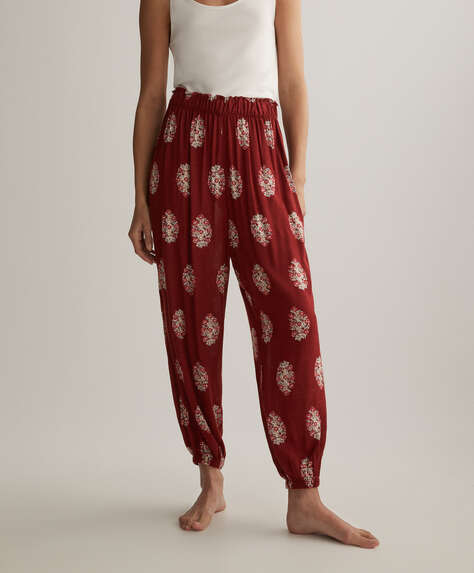 Floral stamp print trousers