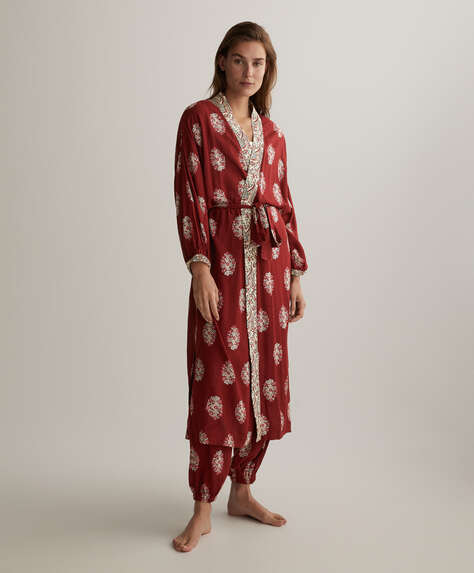 Floral stamp print dressing gown