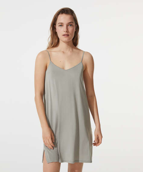 Plain soft-touch strappy nightdress