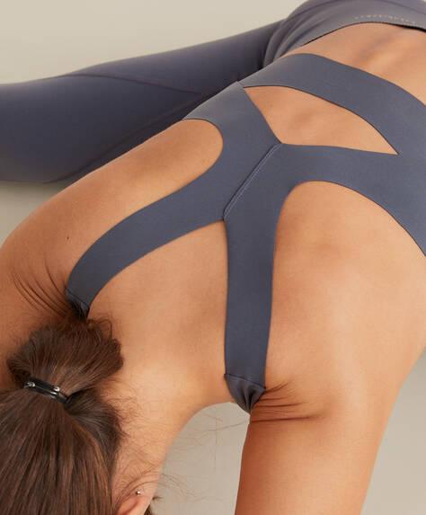 Laser-cut back compression sports bra