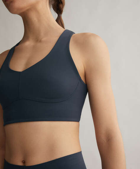 Laser-cut back compression sports bra